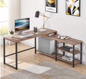 L-shaped desk with shelves and storage
