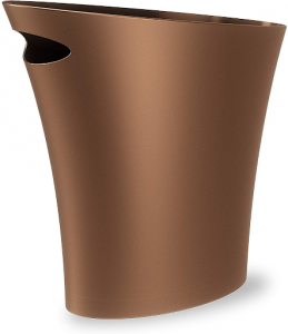 Ultra-slim bronze wastebasket