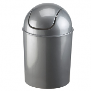 Glossy silver waste can with a swing lid