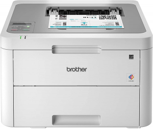 Brother compact color printer with printed page