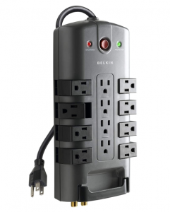 Gray surge protector with 12 outlets