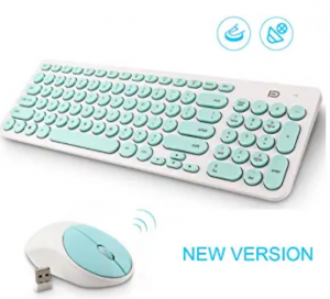 Wireless keyboard and mouse combo mint green and white