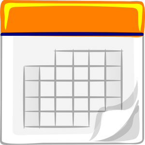 Orange calendar icon with a tick