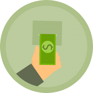 Green icon showing drawing a dollar from an atm