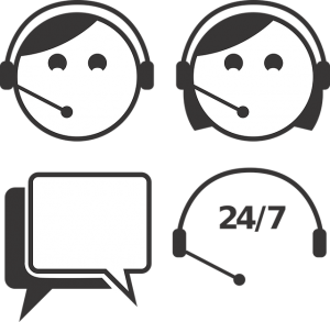Black and white icon showing customer support agents