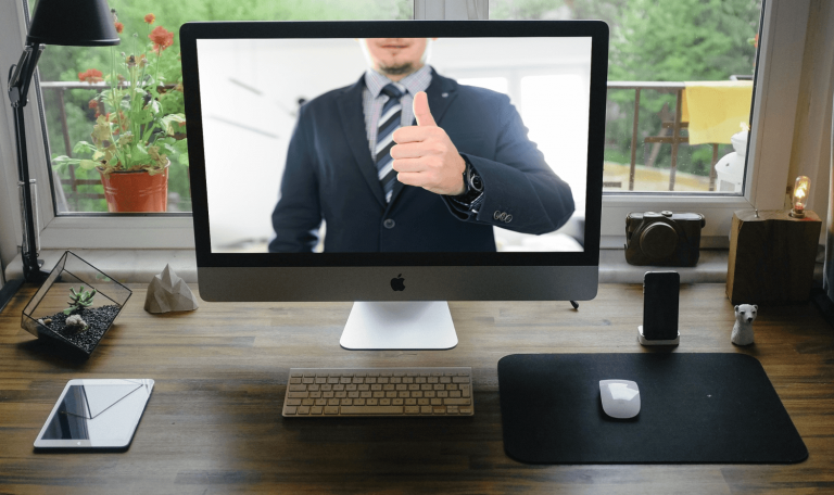 Successful online interview - thumbs up