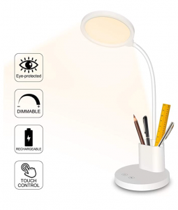 Rechargeable desk lamp with pencil holder