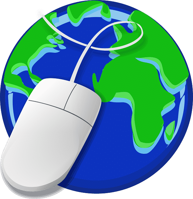 Picture of the world and a mouse to represent the web