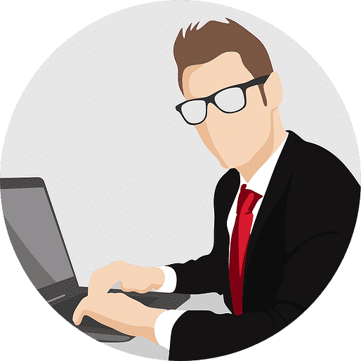 Vector diagram of a man at a laptop - find out what skills you need.