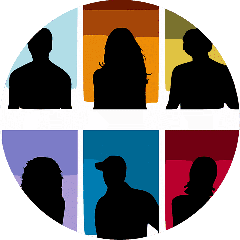 Silhouettes of people to indicate potential customers