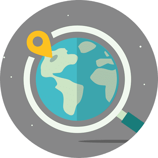 Vector diagram of a globe to indicate finding clients online
