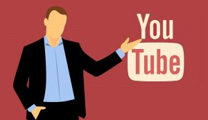 man showing youtube as a career