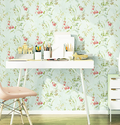 Floral wallpaper for home office decor for women