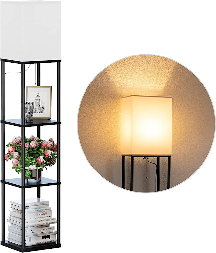 Home office lamp with a bookshelf