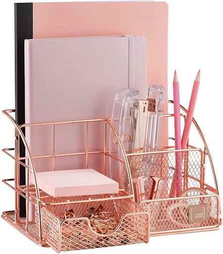 Rose gold home office organizer