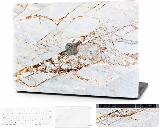 White and gold laptop cover