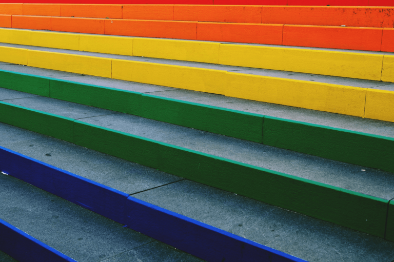 Brightly coloured steps