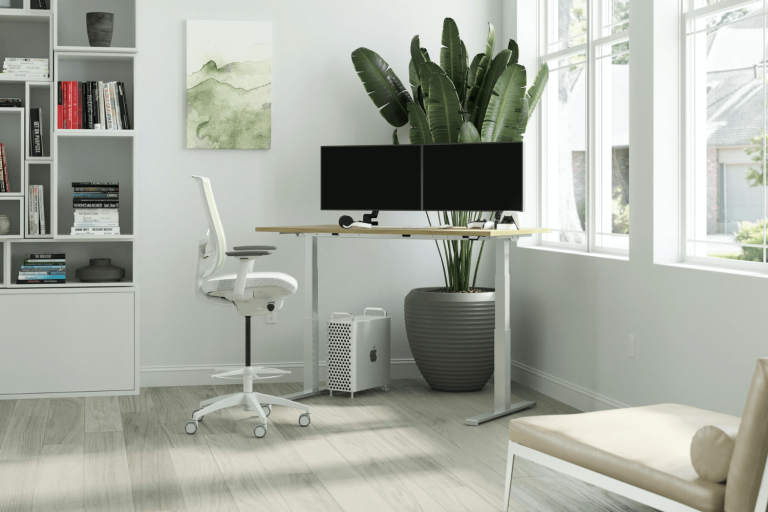 A home office chair with a standing desk.
