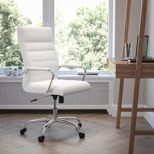 Classic White and Chrome Home office desk chair